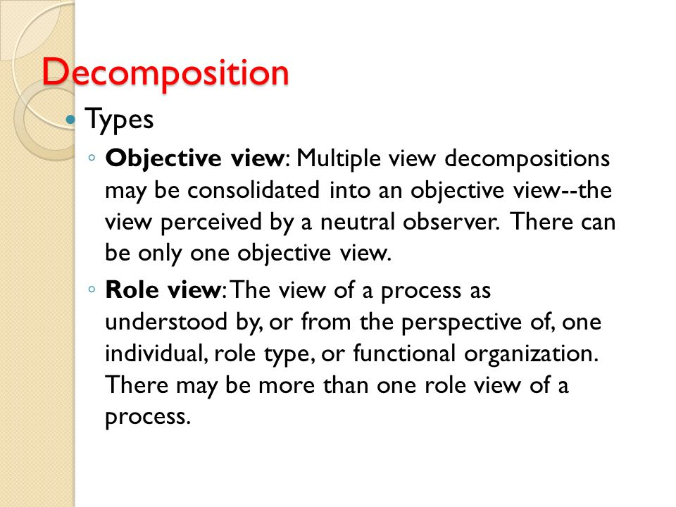 Decomposition Types.