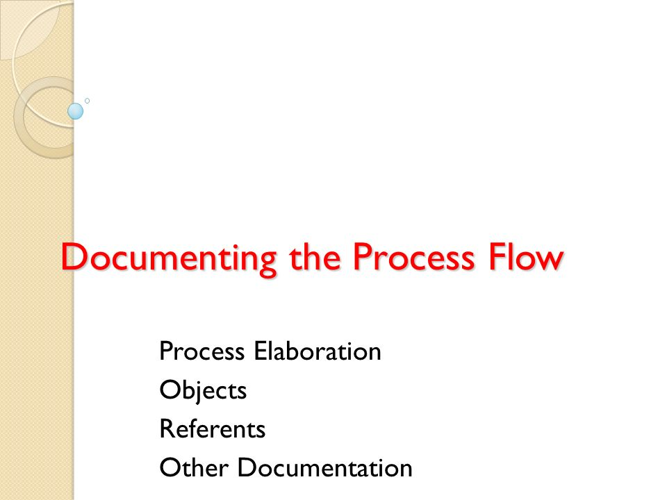 Documenting the Process Flow