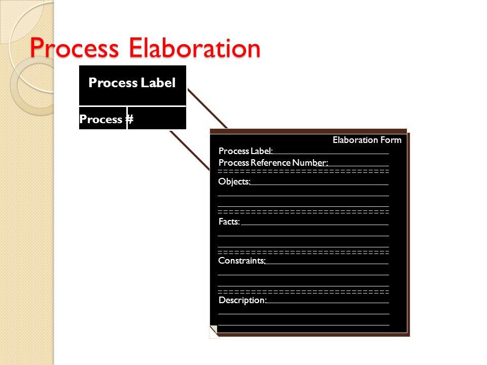Process Elaboration Process Label Process # Elaboration Form