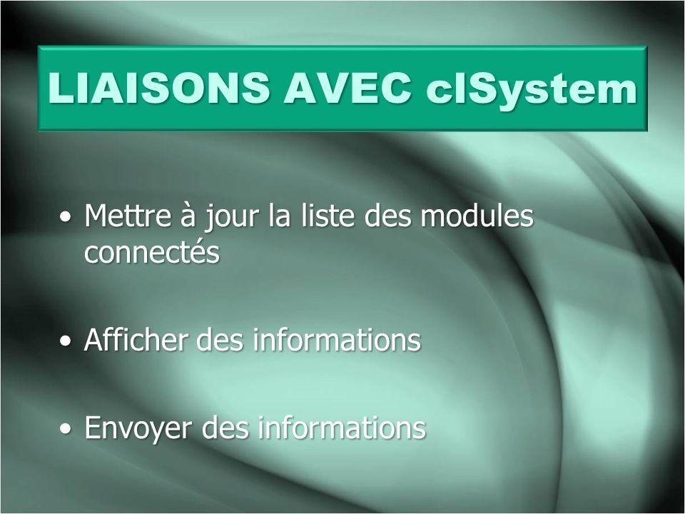 LIAISONS AVEC clSystem
