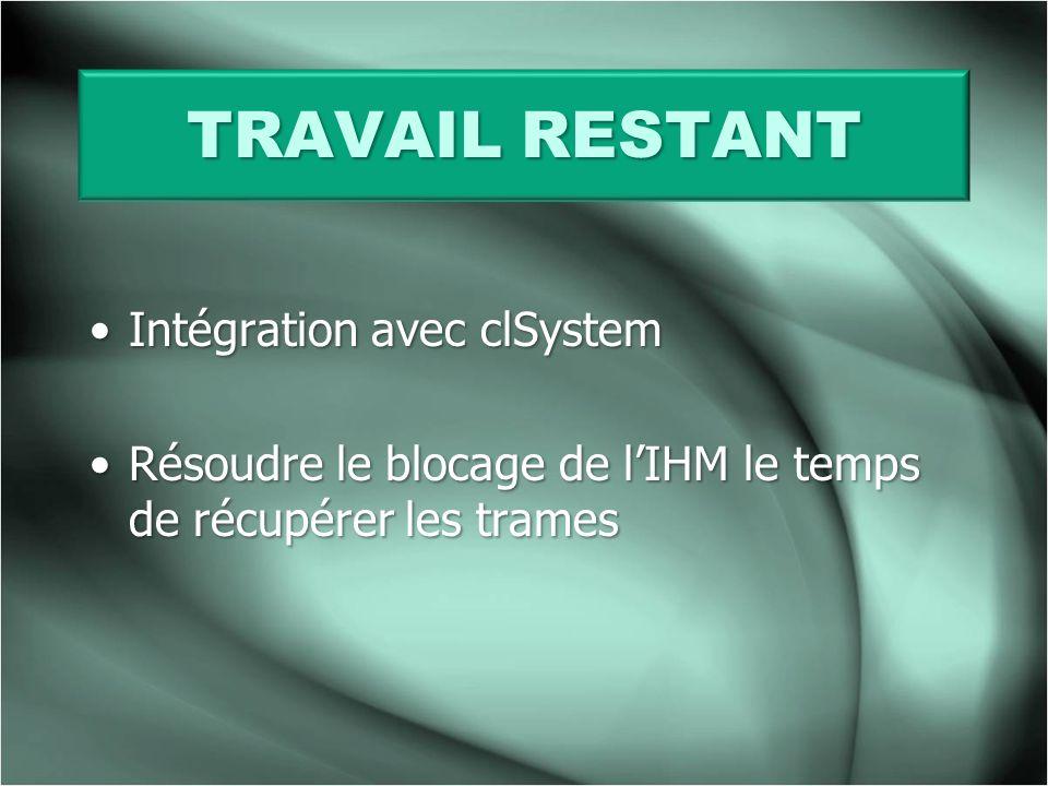 TRAVAIL RESTANT Intégration avec clSystem