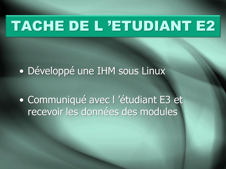 TACHE DE L 'ETUDIANT E2 Développé une IHM sous Linux