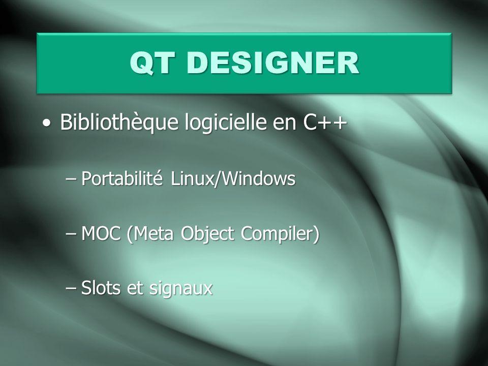QT DESIGNER Bibliothèque logicielle en C++ Portabilité Linux/Windows