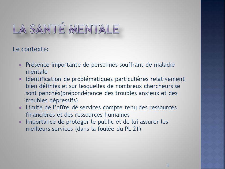 La santé mentale Le contexte: