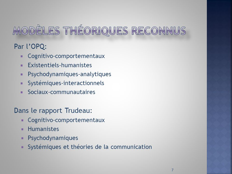 modèles théoriques reconnus