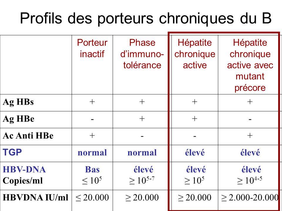 Profils des porteurs chroniques du B