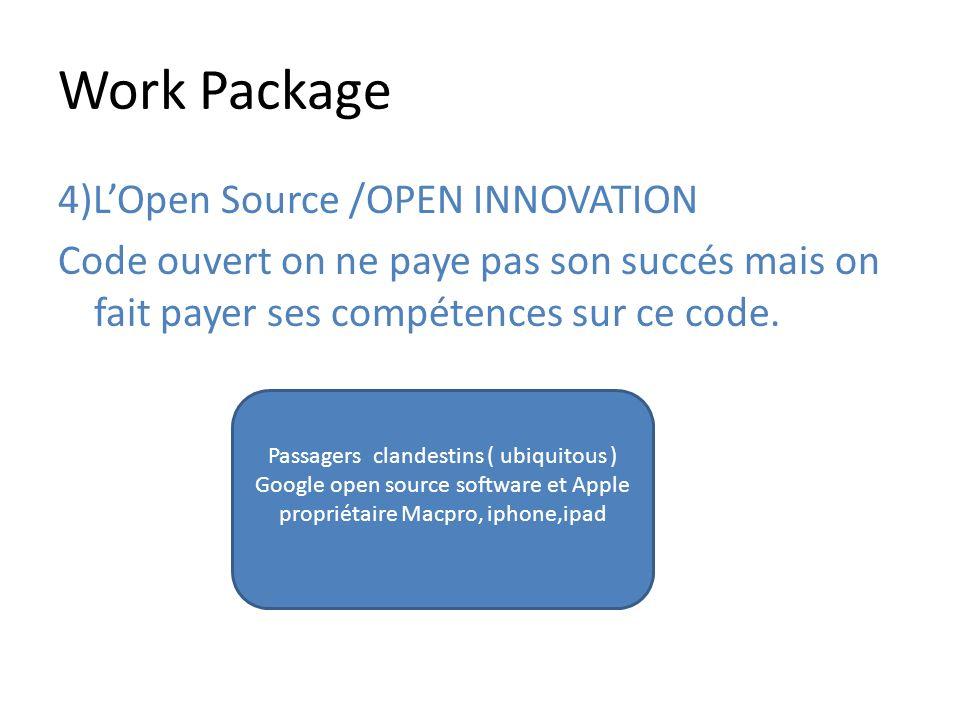 Work Package 4)L'Open Source /OPEN INNOVATION Code ouvert on ne paye pas son succés mais on fait payer ses compétences sur ce code.