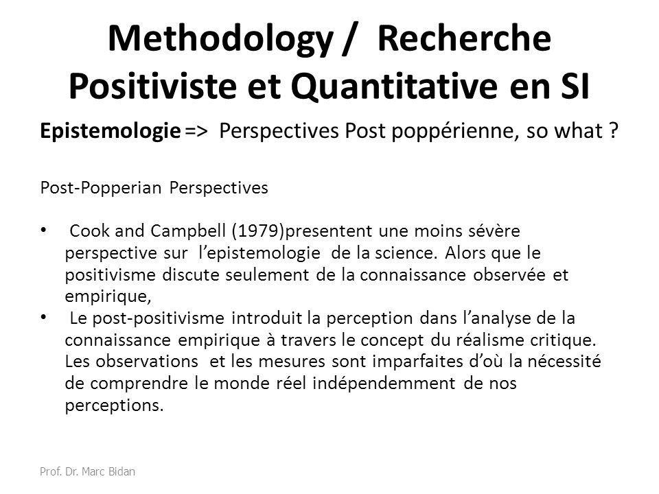 Methodology / Recherche Positiviste et Quantitative en SI