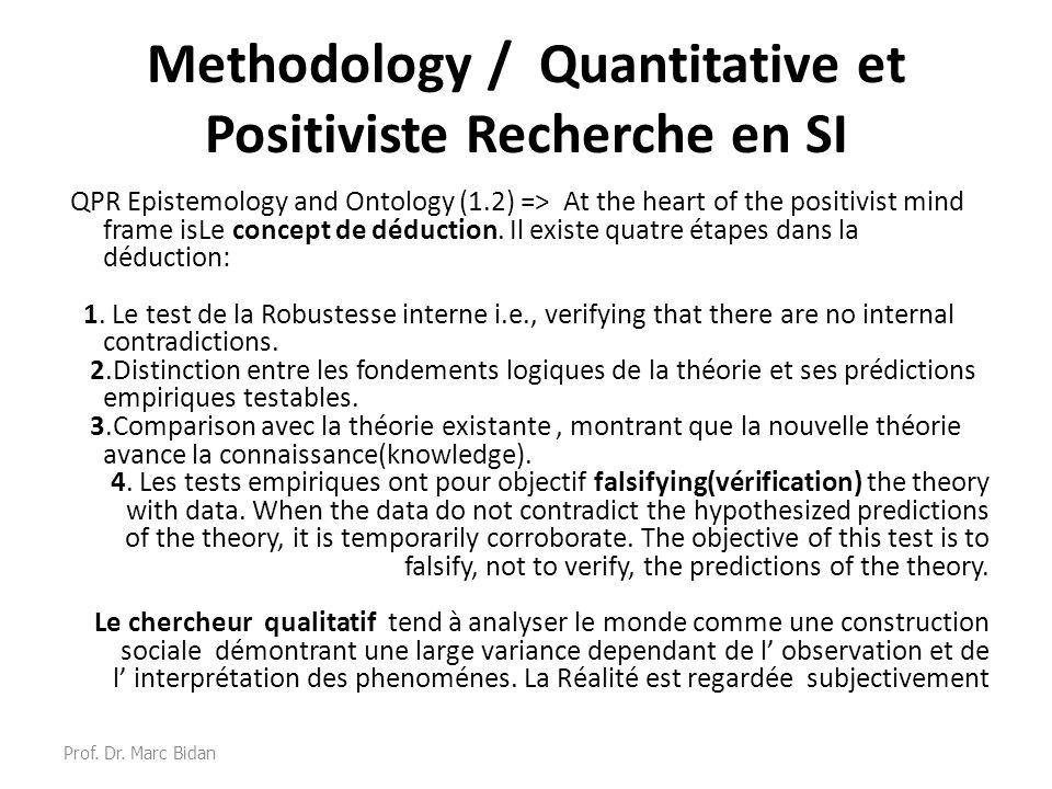 Methodology / Quantitative et Positiviste Recherche en SI