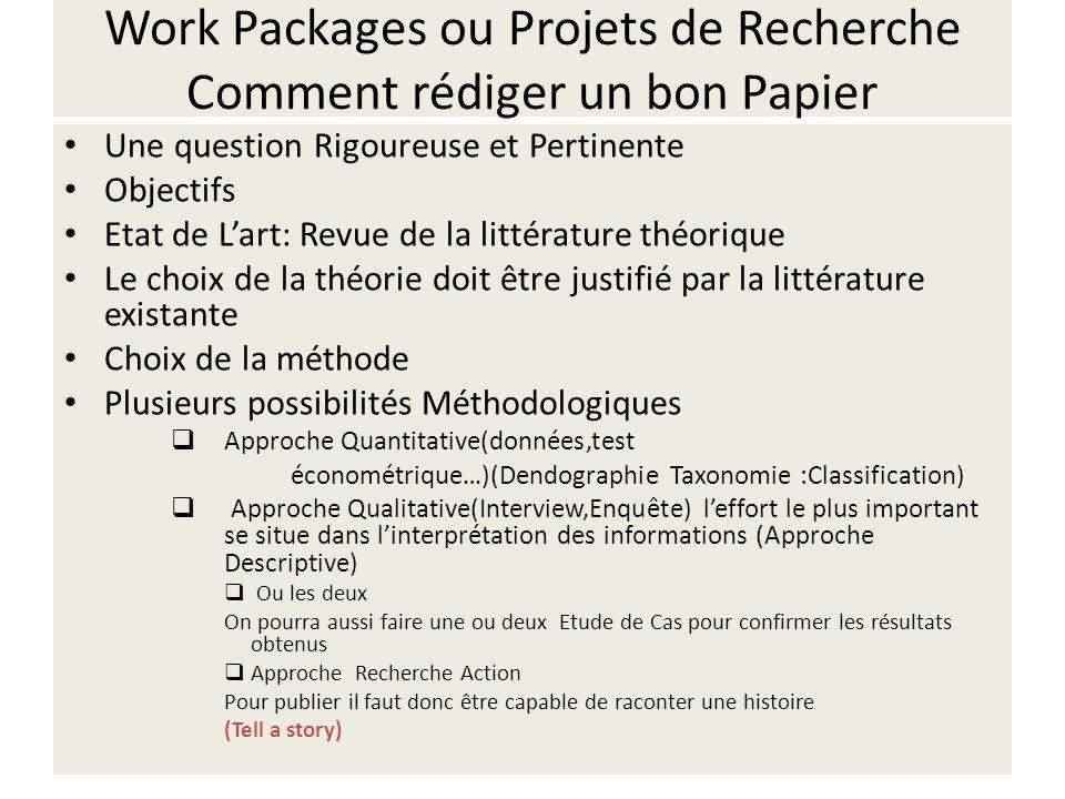 Work Packages ou Projets de Recherche Comment rédiger un bon Papier