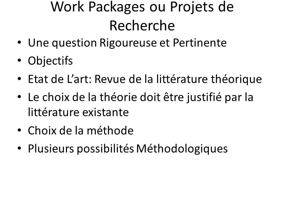 Work Packages ou Projets de Recherche
