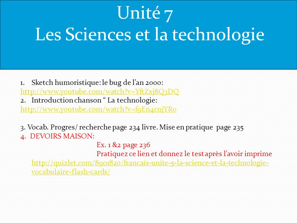Les Sciences et la technologie