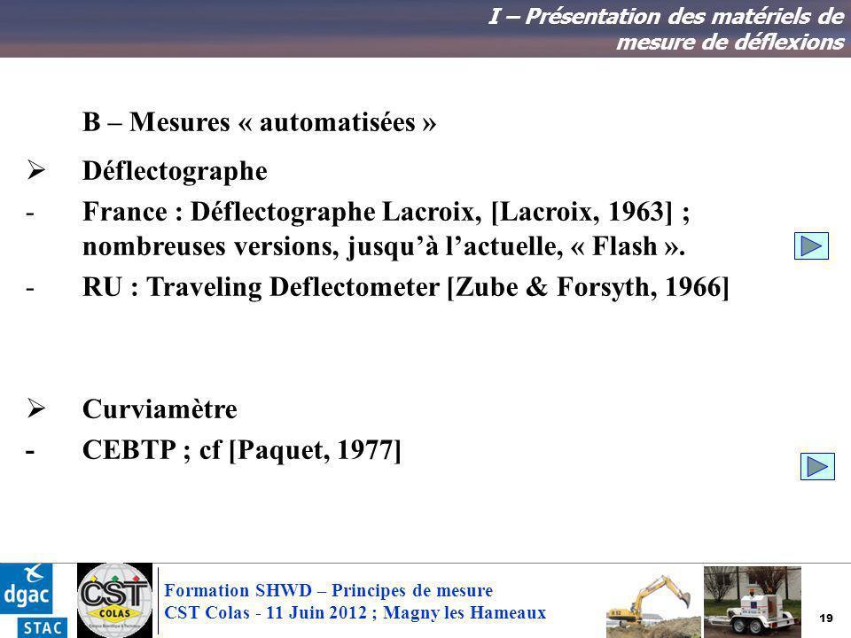 B – Mesures « automatisées » Déflectographe