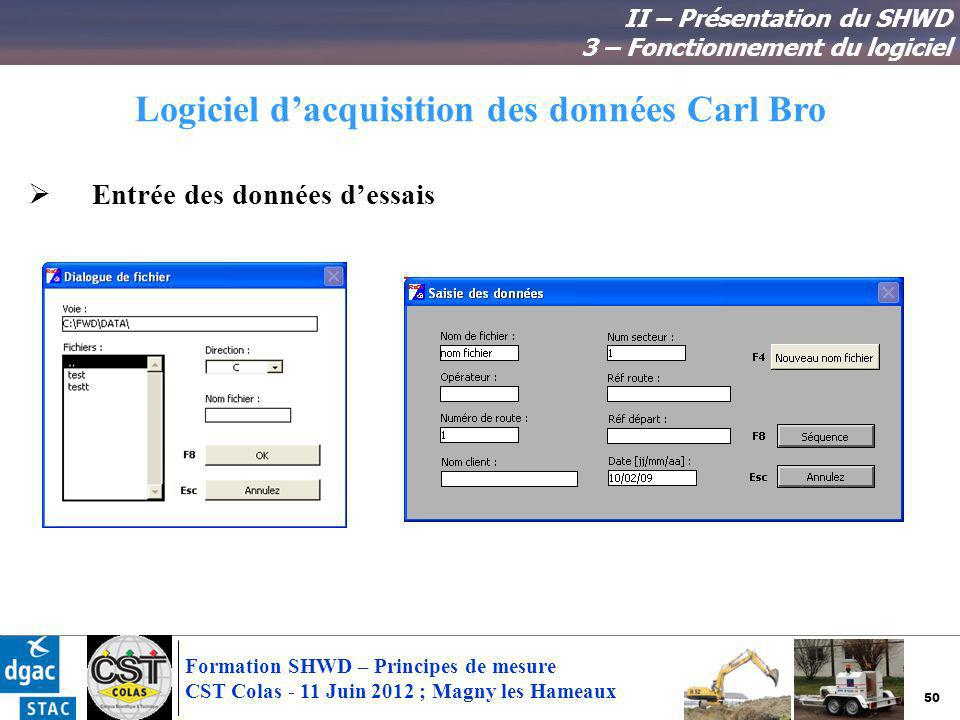 Logiciel d'acquisition des données Carl Bro