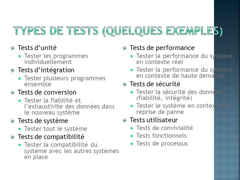 Types de tests (quelques exemples)