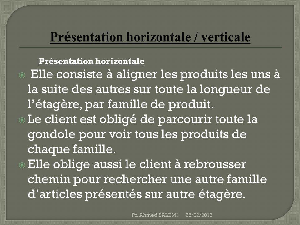 Présentation horizontale / verticale