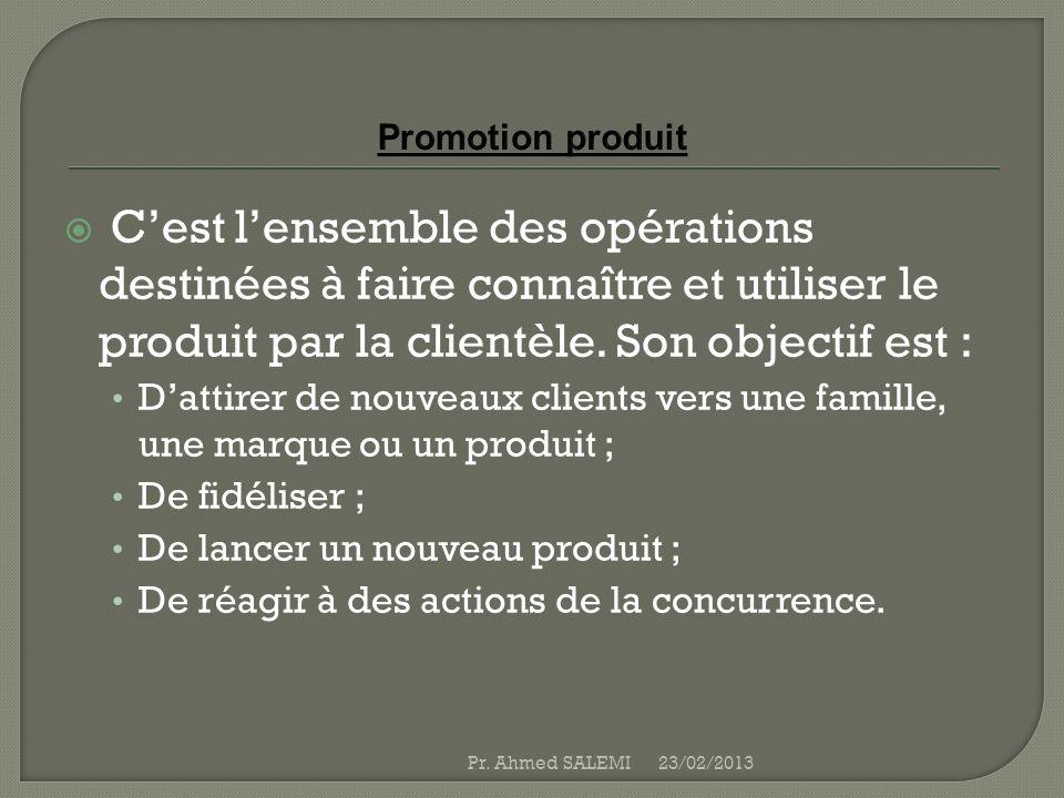 Promotion produit C'est l'ensemble des opérations destinées à faire connaître et utiliser le produit par la clientèle. Son objectif est :