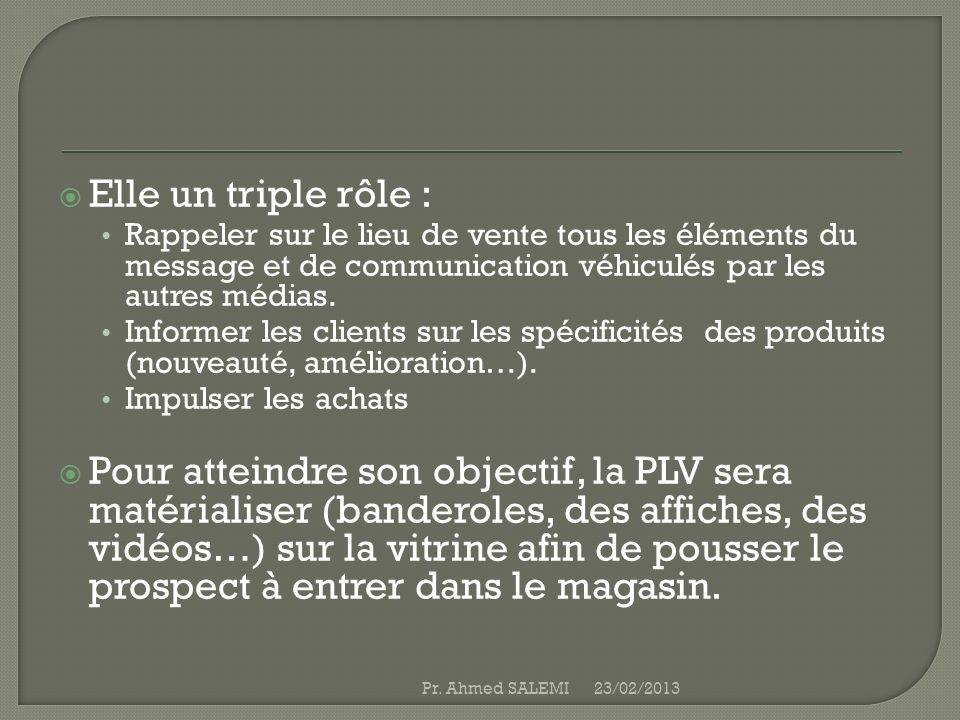 Elle un triple rôle : Rappeler sur le lieu de vente tous les éléments du message et de communication véhiculés par les autres médias.
