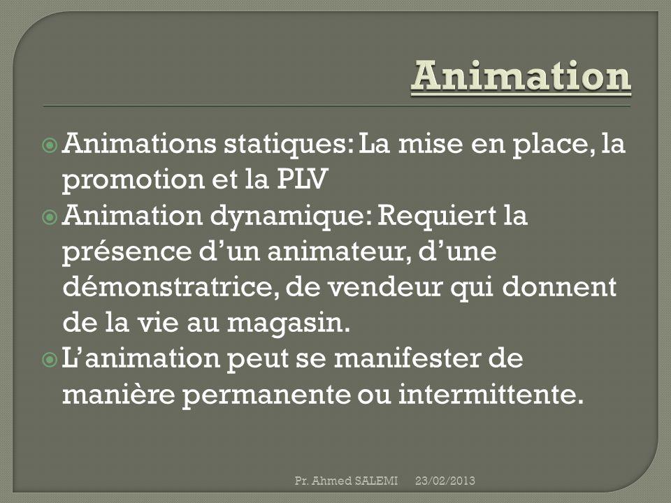 Animation Animations statiques: la mise en place, la promotion et la plv.