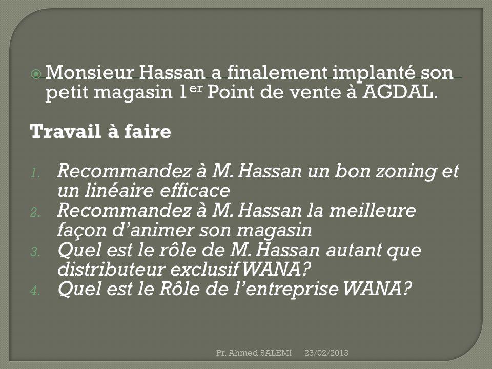Recommandez à M. Hassan un bon zoning et un linéaire efficace