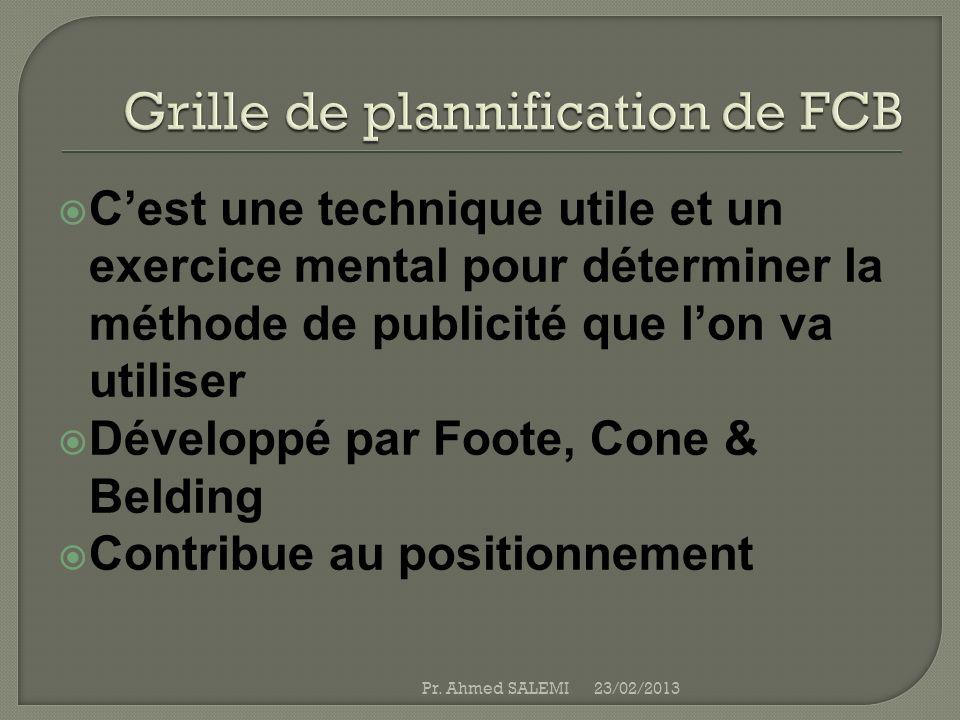 Grille de plannification de FCB