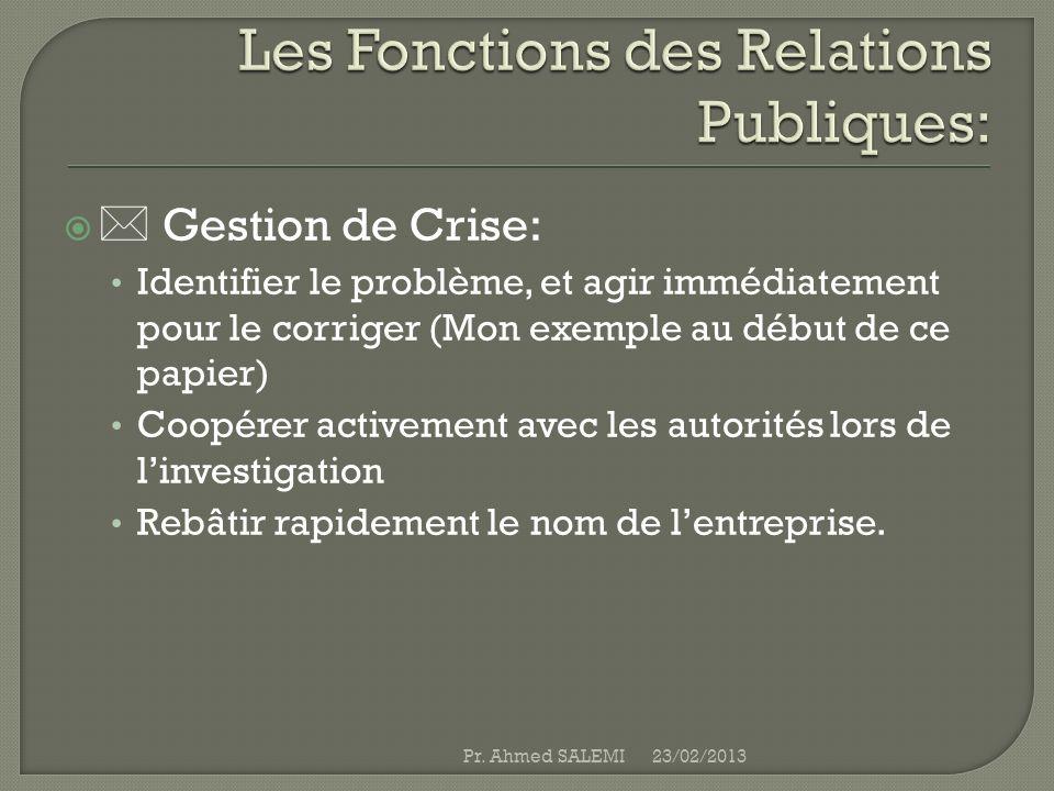 Les Fonctions des Relations Publiques: