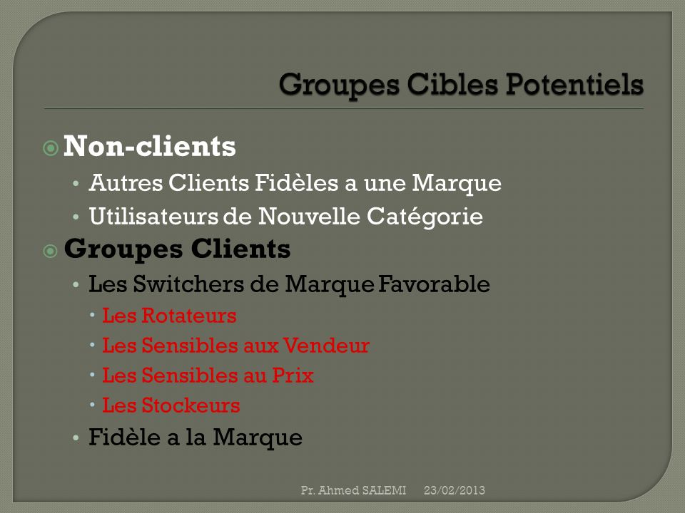 Groupes Cibles Potentiels