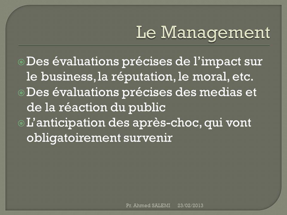 Le Management Des évaluations précises de l'impact sur le business, la réputation, le moral, etc.