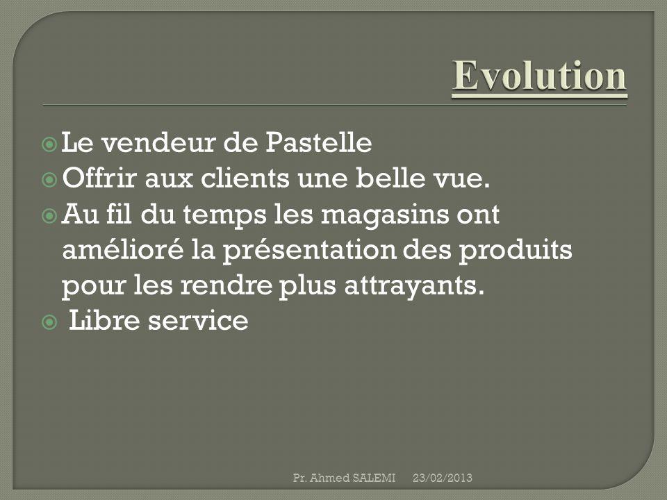 Evolution Le vendeur de Pastelle Offrir aux clients une belle vue.