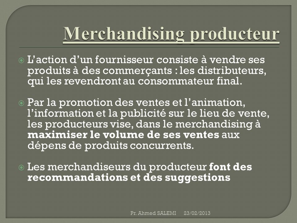 Merchandising producteur