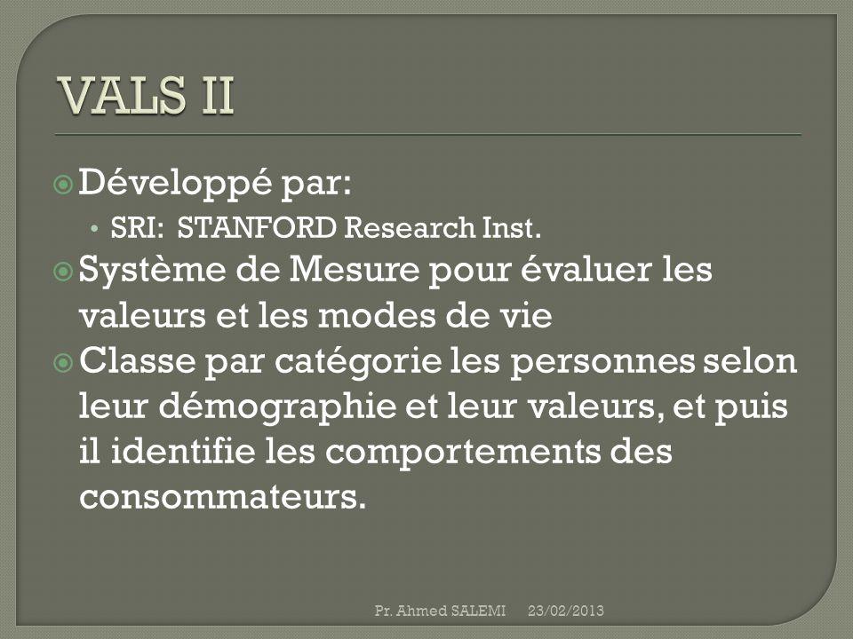VALS II Développé par: SRI: STANFORD Research Inst. Système de Mesure pour évaluer les valeurs et les modes de vie.