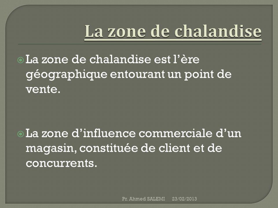 La zone de chalandise La zone de chalandise est l'ère géographique entourant un point de vente.