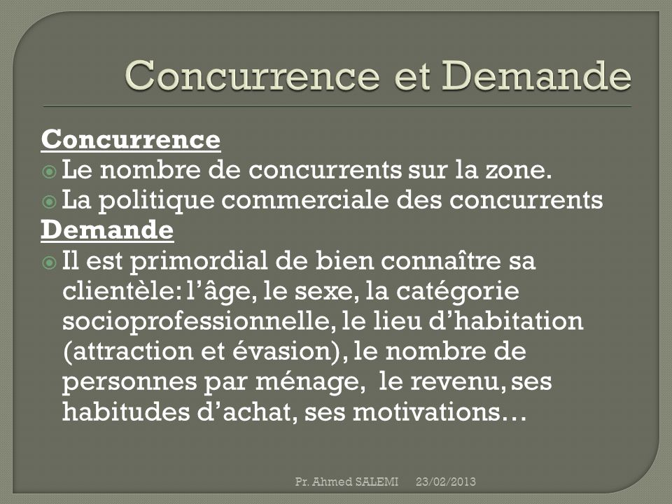 Concurrence et Demande