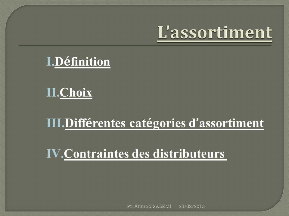 L assortiment Définition Choix Différentes catégories d'assortiment