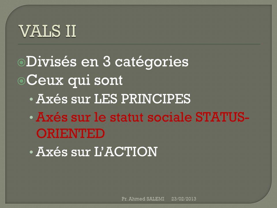 VALS II Divisés en 3 catégories Ceux qui sont Axés sur LES PRINCIPES