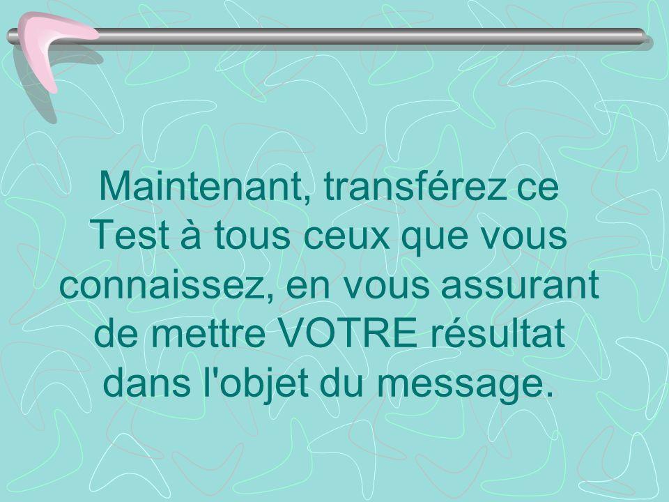 Maintenant, transférez ce Test à tous ceux que vous connaissez, en vous assurant de mettre VOTRE résultat dans l objet du message.