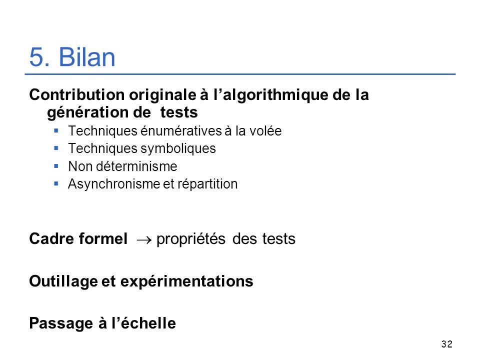 5. Bilan Contribution originale à l'algorithmique de la génération de tests. Techniques énumératives à la volée.