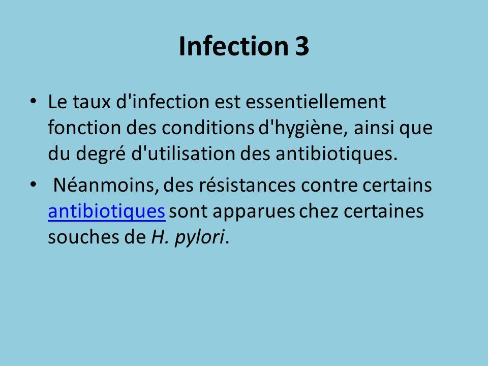 Infection 3 Le taux d infection est essentiellement fonction des conditions d hygiène, ainsi que du degré d utilisation des antibiotiques.