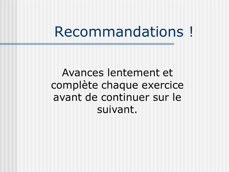 Recommandations .
