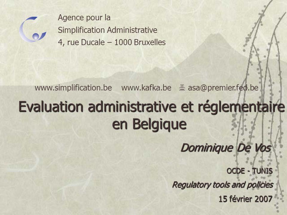 Evaluation administrative et réglementaire