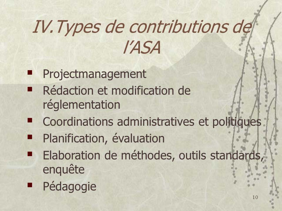 IV.Types de contributions de l'ASA