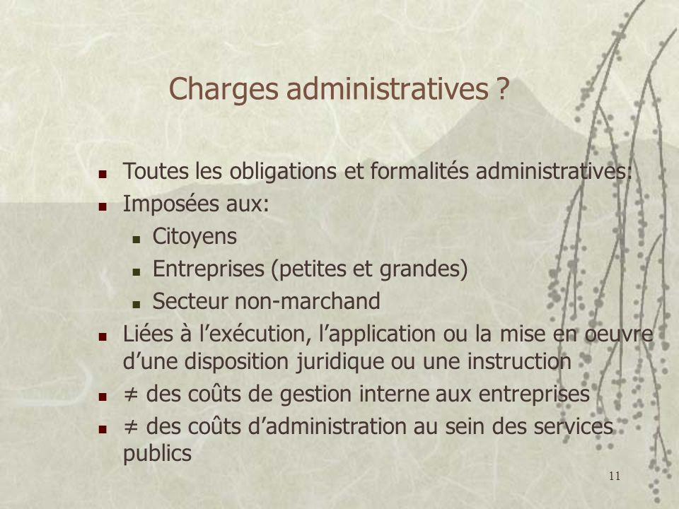 Charges administratives