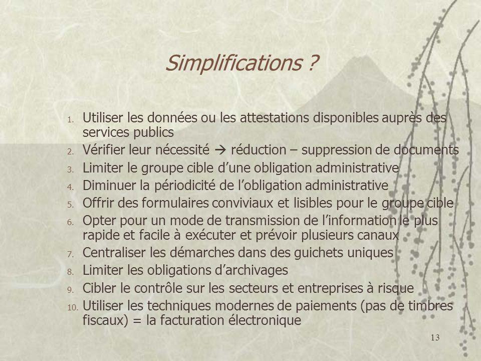 Simplifications Utiliser les données ou les attestations disponibles auprès des services publics.