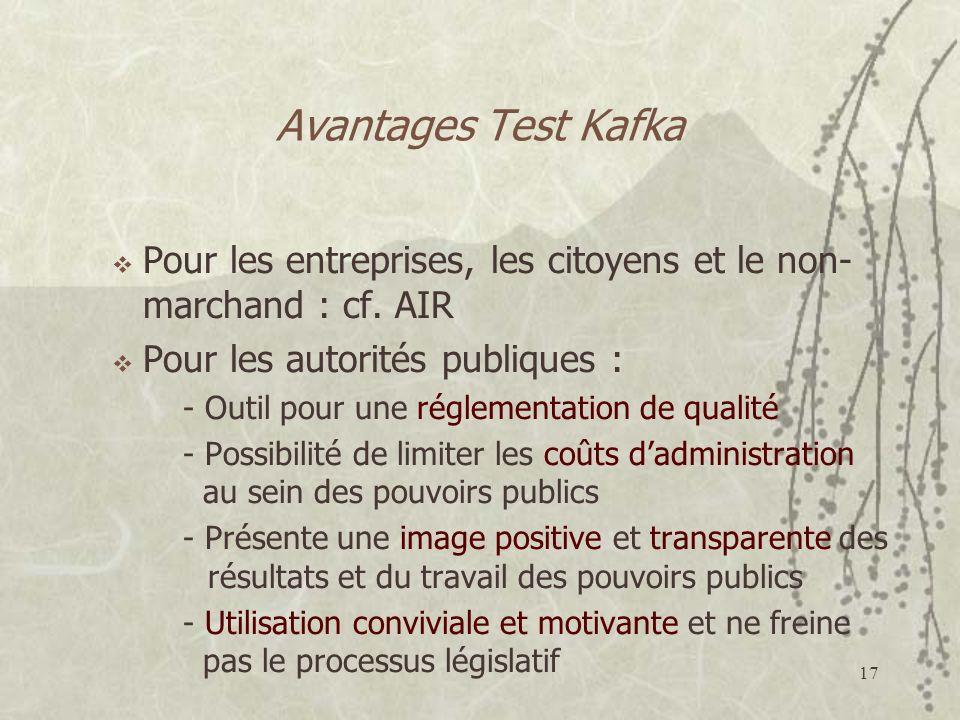 Avantages Test Kafka Pour les entreprises, les citoyens et le non-marchand : cf. AIR. Pour les autorités publiques :