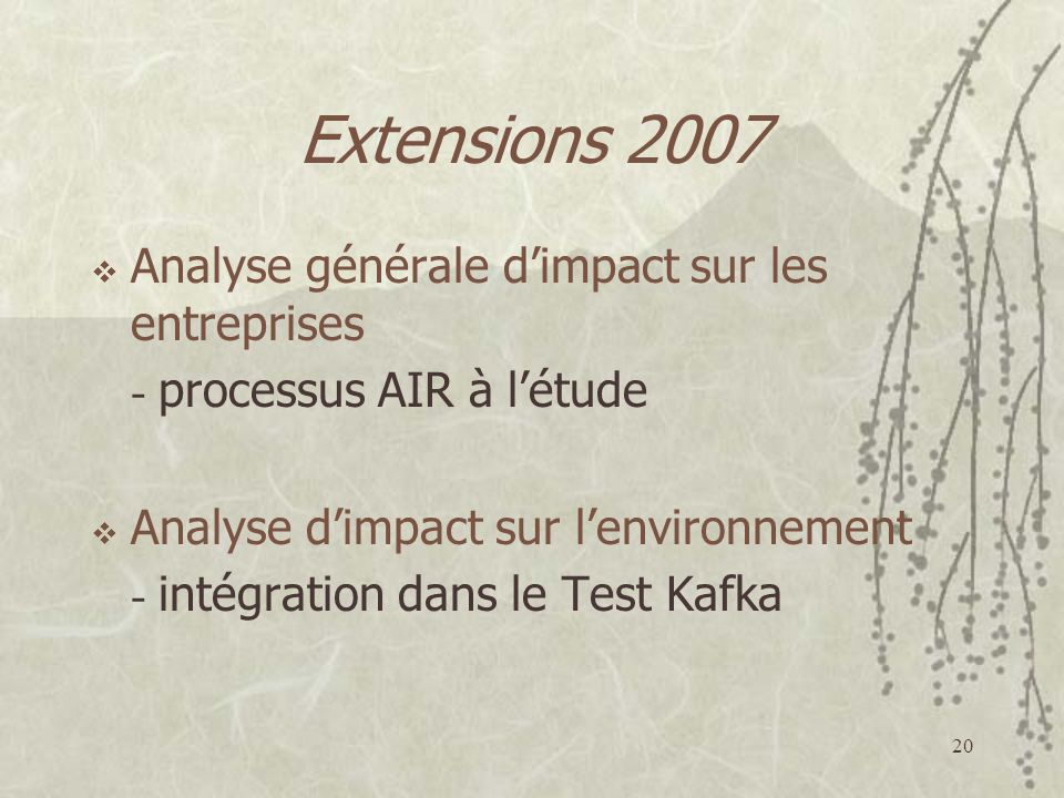 Extensions 2007 Analyse générale d'impact sur les entreprises