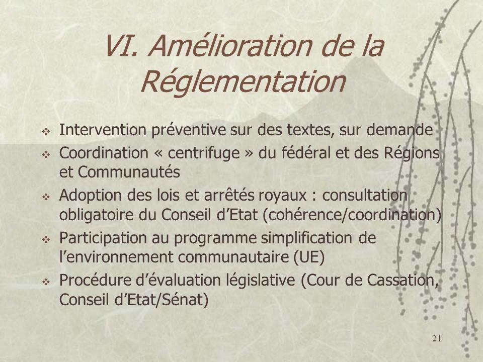 VI. Amélioration de la Réglementation