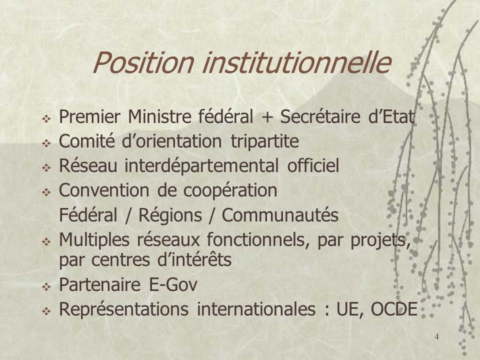 Position institutionnelle