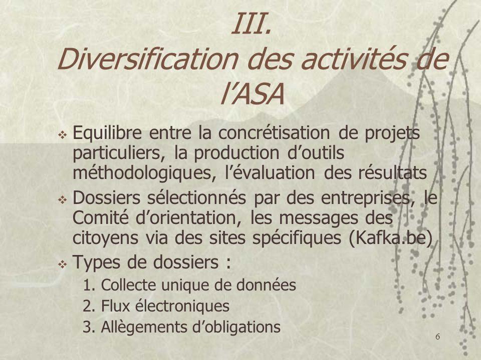 III. Diversification des activités de l'ASA