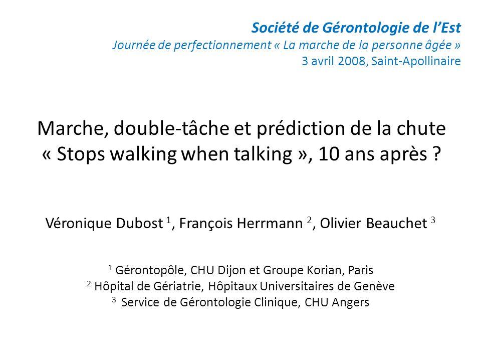 Marche, double-tâche et prédiction de la chute