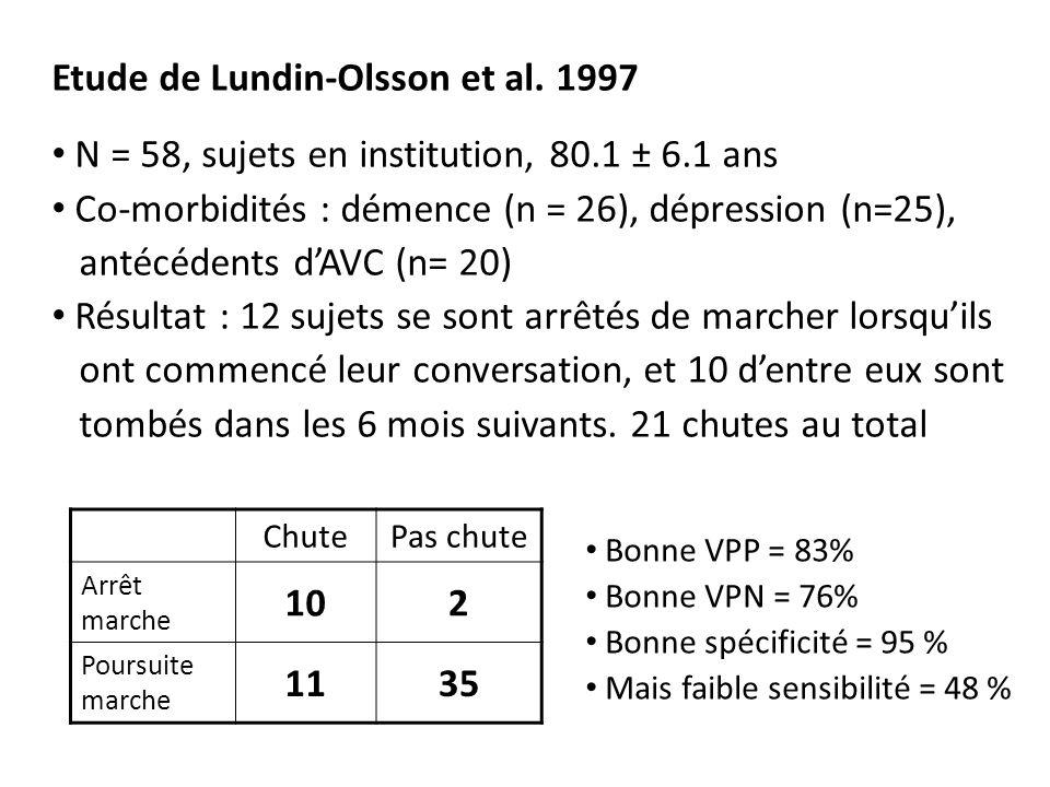 Etude de Lundin-Olsson et al. 1997